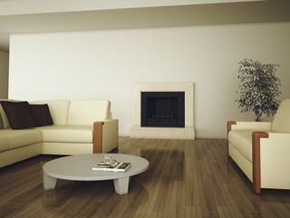 modern interior  with fireplace and sofas 3d rendering