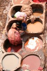 Ledergerber und -färberei in Fes - Marokko