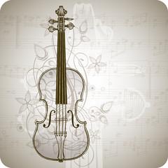 violin, music sheets & vintage floral ornament