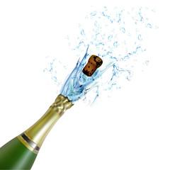 explosion of champagne bottle cork