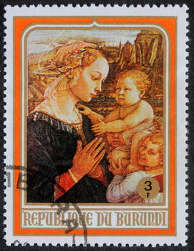 BURUNDI - CIRCA 1980: A greeting Christmas stamp