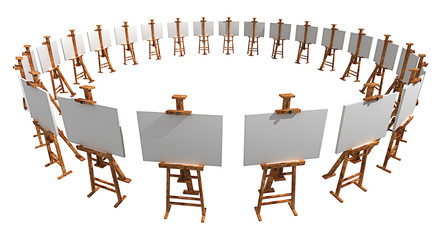 Exhibition of easels with blank canvas isolated on white