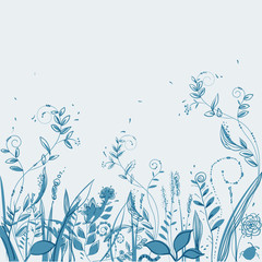 vector  field of flowers and plants