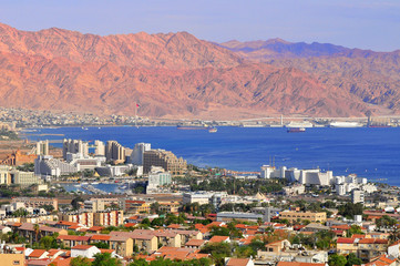 View to Eilat city, famous international resort - the southernmost city of Israel.