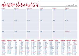 planning 2011 con santi e festività in italiano
