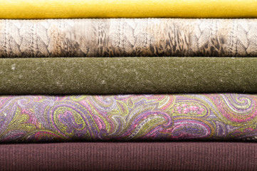 Stack of textile rolls