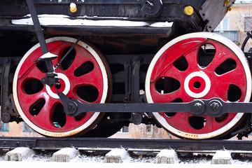 Papiers peints Rouge, noir, blanc Locomotive Wheel