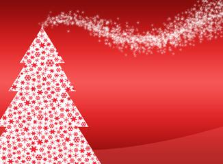sfondo natalizio con albero di natale formato da fiocchi di neve