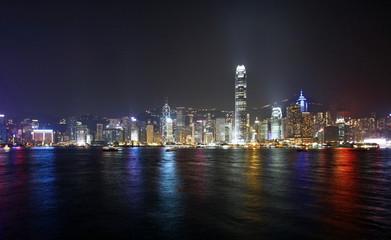 Hong Kong night view wide angle