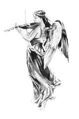 Wall Mural - Sketch of tattoo art, angel