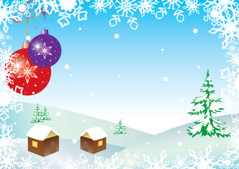 vector winter illustration with balls and snowflakes