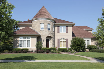 Home with stone turret
