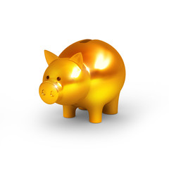gold pig on white isolated. 3d render
