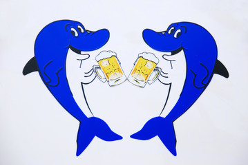 Two shark drink beer.