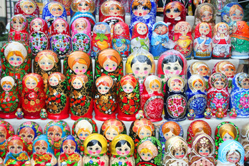 Moldovian and Russian dolls matruskas as background
