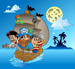 Photo sur Plexiglas Pirates Three pirates and island silhouette