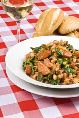 Pork Sausages, Beans and Collard Greens and White Wine