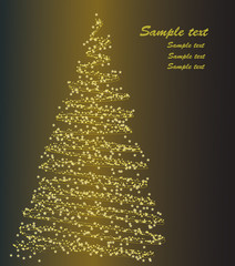 Stylized christmas tree on golden background. Vector.