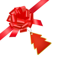 Vector. Gift red ribbon and bow with card.