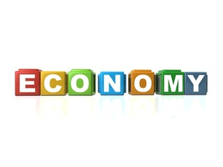 Building blocks spelling out ECONOMY