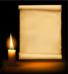 Background with old paper and a candle. Vector .
