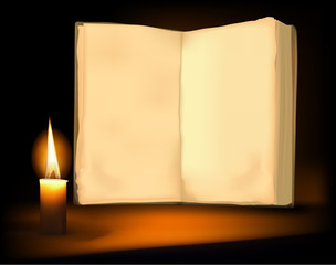 Background with old book, candle and a candle. Vector.