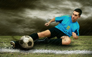 Photo sur Plexiglas Le football Soccer players on the field