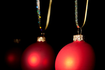 Hanging Christmas red baubles