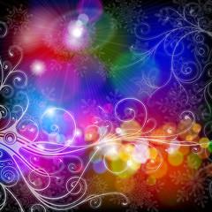 florar ornamentы, snowflakes & twinkling lights