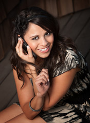 Beautiful Latina Woman on Cell Phone