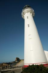 Lighthouse, reaching skyward, Castle Point, New Zealand.