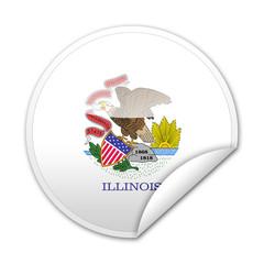 Pegatina bandera Illinois con reborde
