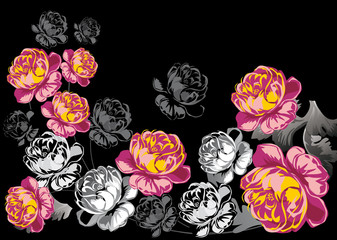 red and black roses design