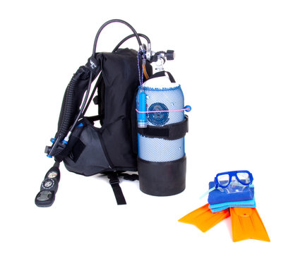 diving equipment isolated on white background