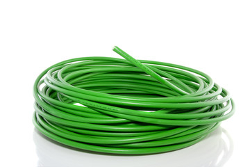 fibre optical green cable isolated over white