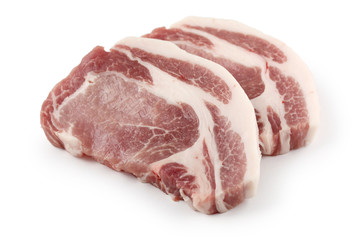 slices of fresh raw pork loin