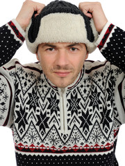 expressions. Funny winter men in warm hat and clothes. isolated