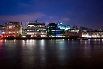 Modern Buildings at Night on Thames, London