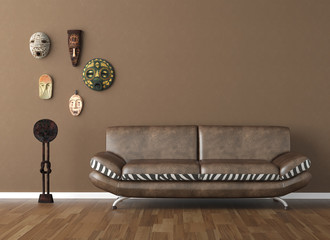 brown wall with tribal masks and couch