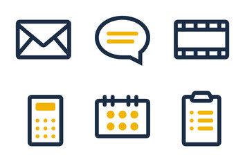 Mail, comment, media, calculator, calendar and clipboard icons