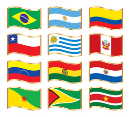 Wavy gold frame flags - South America