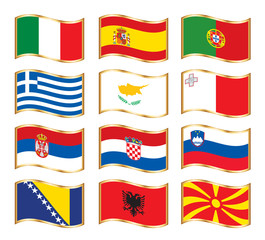 Wavy gold frame flags - Southern Europe