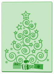 Christmas green tree, card