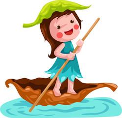 Keuken foto achterwand Magische wereld litlle fairy sailing leaf boat