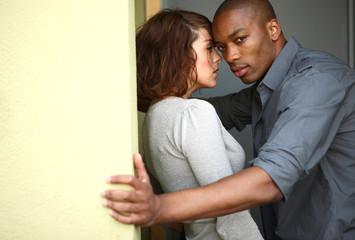 Attractive young interracial couple.