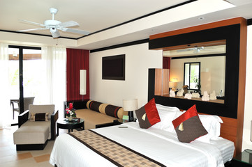 Villa interior at the modern luxury hotel, Phuket, Thailand
