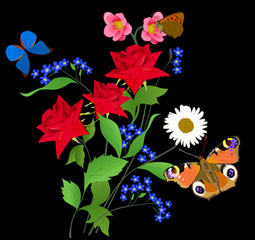 butterflies and three red bright roses