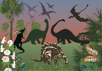 dinosaurs in green forest