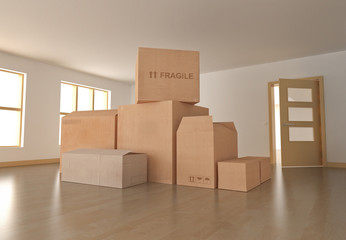 Empty room with boxes. 3D rendered image.