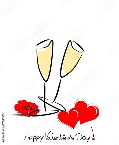 Valentinskarte Mit Sektglas Und Herz
